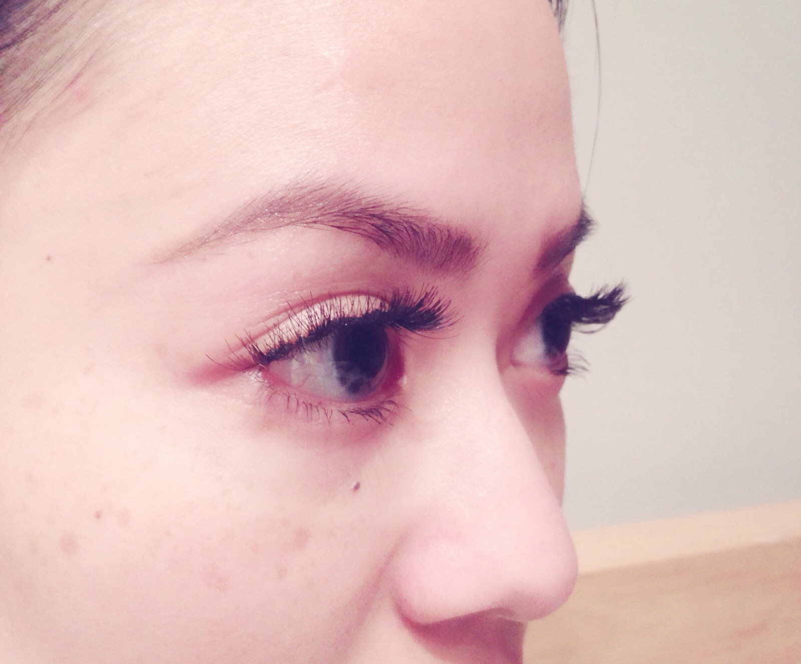 Side view of my review of express eyelash extensions